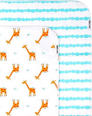 Zoocchini 2 Pack Flannel Baby Blankets 100 x 100 cm, Giraffe+Aqua - 100% cotton Blankets