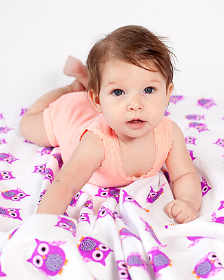 Zoocchini 2 Pack Flannel Baby Blankets 100 x 100 cm, Owl/Purple – 100% cotton Blankets