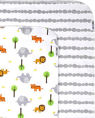 Zoocchini 2 Pack Flannel Baby Blankets 100 x 100 cm, Safari+Grey - 100% cotton Blankets