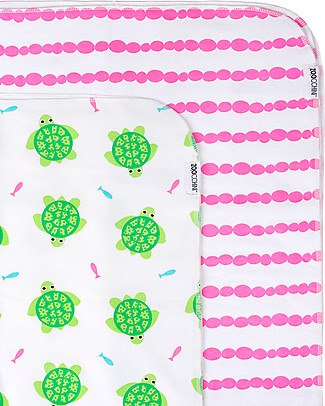 Zoocchini 2 Pack Flannel Baby Blankets 100 x 100 cm, Turtle+Pink - 100% cotton Blankets