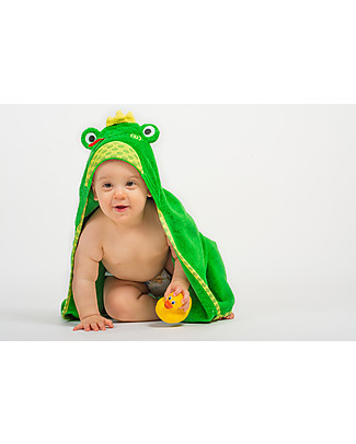 Zoocchini Baby Towel with Hood, Flippy the Frog - 100% cotton Towels And Flannels