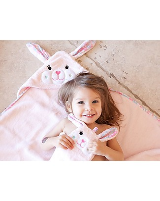 Zoocchini Bath Mitt, Beatrice the Bunny - 100% cotton Towels And Flannels