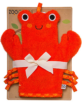 Zoocchini Bath Mitt, Charlie the Crab - 100% cotton Towels And Flannels