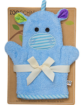 Zoocchini Bath Mitt, Henry the Hippo - 100% cotton Towels And Flannels