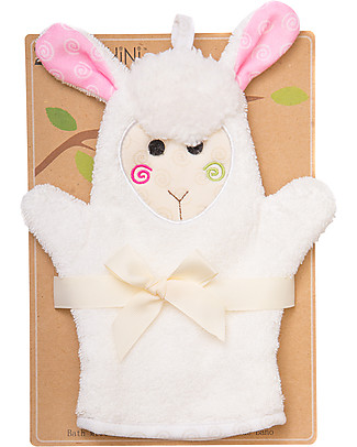 Zoocchini Bath Mitt, Lola the Lamb - 100% cotton Towels And Flannels