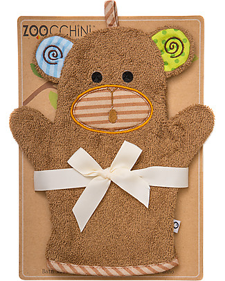 Zoocchini Bath Mitt, Max the Monkey - 100% cotton Towels And Flannels