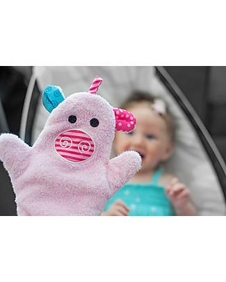 Zoocchini Bath Mitt, Pinky the Piglet - 100% cotton Towels And Flannels