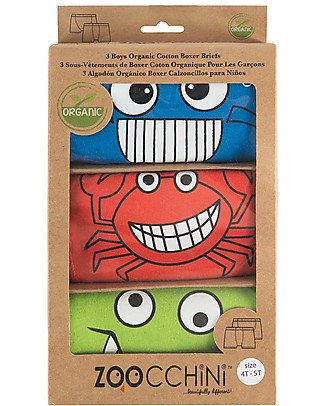 Zoocchini Boy Boxer Set of 3, Cheeky Chompers - 100% organic cotton Training Pants