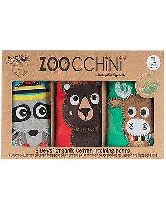 Zoocchini Boys Padded Training Pant Set, 3 pieces, Forest Chums - 100% organic cotton Training Pants