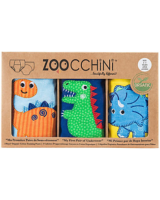 Zoocchini Boys Padded Training Pant Set, 3 pieces, Jurassic Friends – 100% organic cotton Training Pants