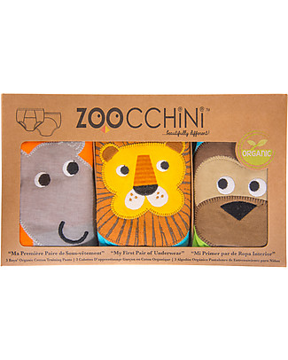 Zoocchini Boys Padded Training Pant Set, 3 pieces, Safari Friends - 100% organic cotton Training Pants