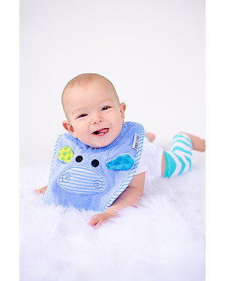 Zoocchini Dribble Bib, Henry the Hippo – 100% cotton Snap Bibs