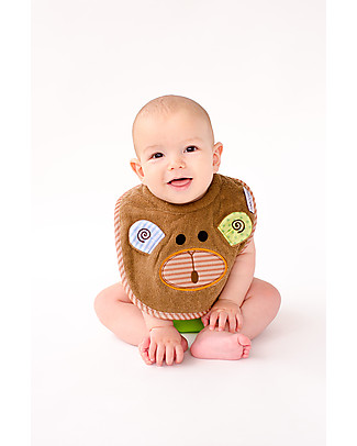Zoocchini Dribble Bib, Max the Monkey – 100% cotton Snap Bibs