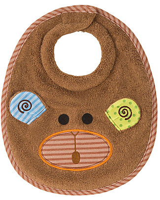 Zoocchini Dribble Bib, Max the Monkey - 100% cotton Snap Bibs