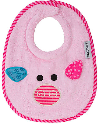 Zoocchini Dribble Bib, Pinky the Piglet - 100% cotton Snap Bibs