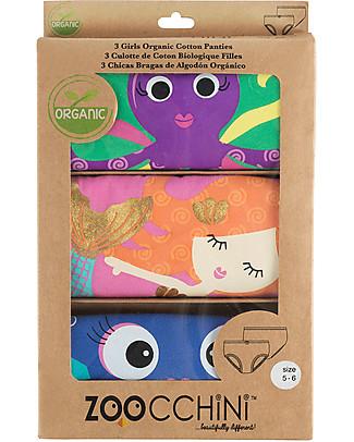 Zoocchini Girls Pants, Coral Caribe - Pacco da 3, 100% cotone bio Briefs