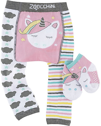 Zoocchini Grip+Easy Anti-slip Leggings & Socks Set - Allie the Unicorn Leggings
