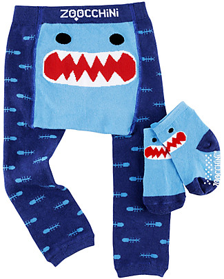 Zoocchini Grip+Easy Anti-slip Leggings & Socks Set - Sherman the Shark Leggings