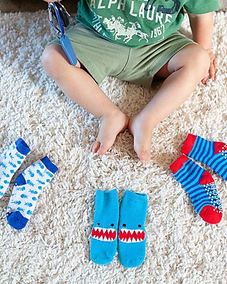 Zoocchini Grip+Easy Antislip Socks 3 Pack - Sherman the Shark Socks