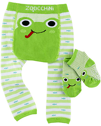Zoocchini Grip+Easy Set Anti Skip Leggings & Socks - Flippy the Frog Leggings