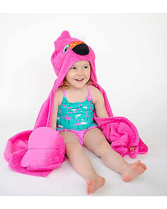 Zoocchini Kids Hooded Towel, Franny the Flamingo - 100% cotton Towels And Flannels