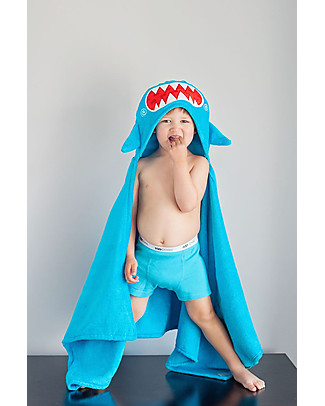 Zoocchini Kids Hooded Towel, Sherman the Shark - 100% cotton null