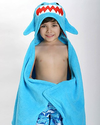 Zoocchini Kids Hooded Towel, Sherman the Shark - 100% cotton Towels And Flannels