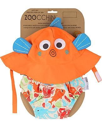 Zoocchini Swim Diaper & Sun Hat Set, Fish - UPF 50+ Swim Diaper