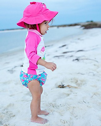 Zoocchini Swim Diaper & Sun Hat Set, Flamingo - UPF 50+ Swim Diaper