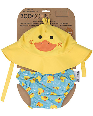 Zoocchini Swim Diaper & Sun Hat Set, Duck - UPF 50+ Swim Diaper