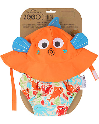 Zoocchini Swim Diaper & Sun Hat Set, Fish – UPF 50+ Swim Diaper