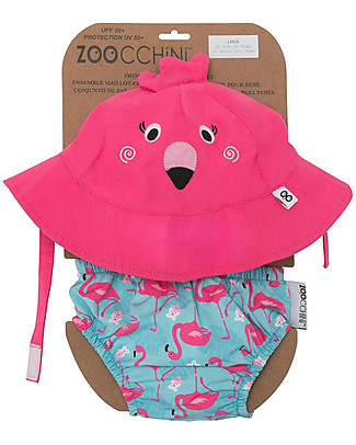 Zoocchini Swim Diaper & Sun Hat Set, Flamingo – UPF 50+ Swim Diaper